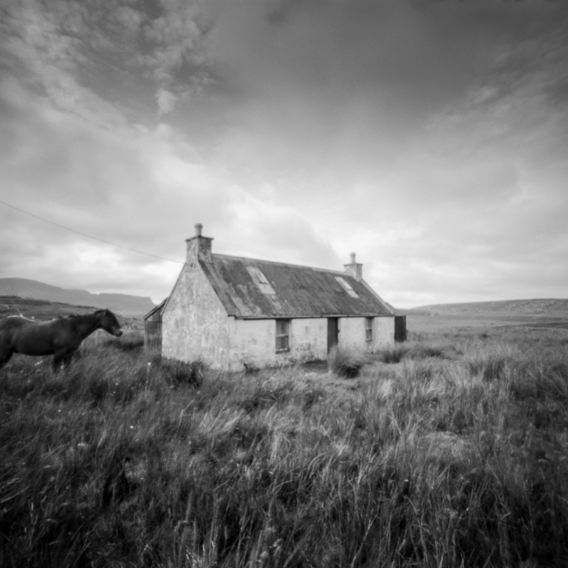 pinhole photograph of horse and croft on staffin skye