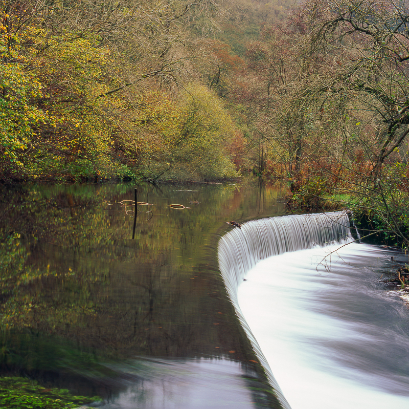 Weir on the River Wye, Derbyshire Peak District